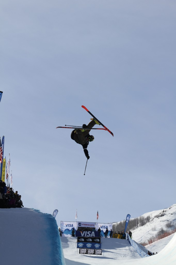 An athlete in the Superpipe visualizing his moves before he makes them.