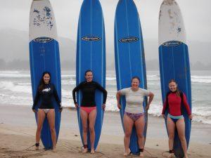 surfing Hanalei