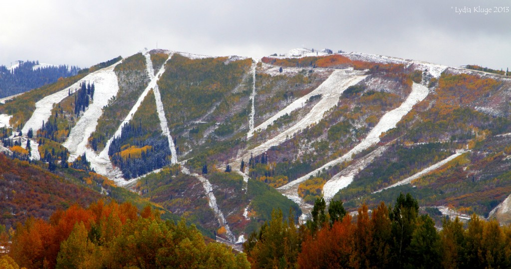 Park City Mountain Resort's trails dusted in snow.