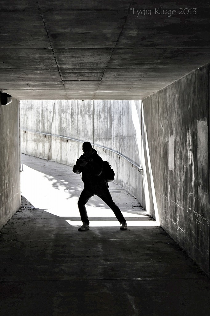 A fellow photographer getting silly in an underpass made a cool silhouette.